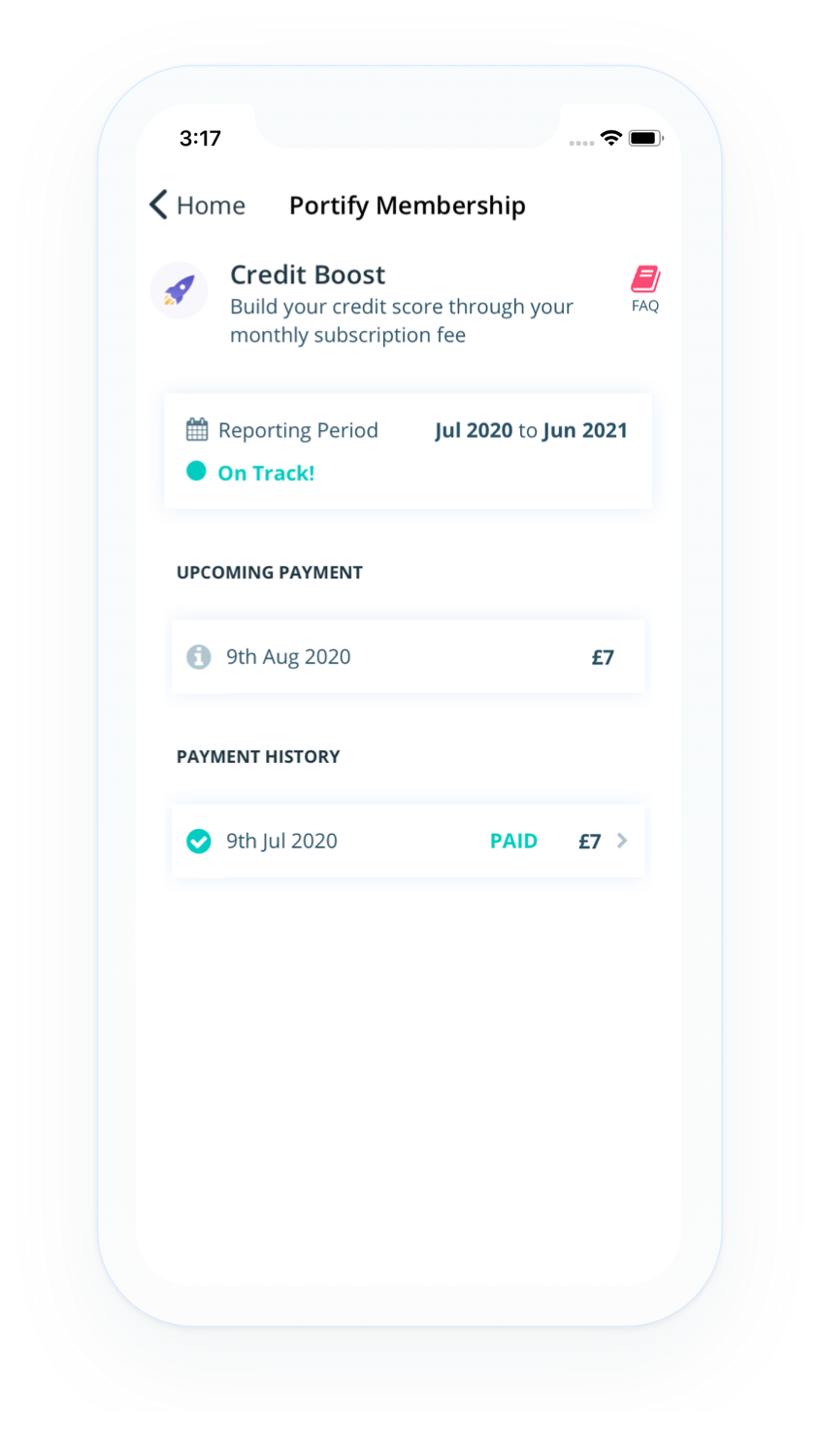 Screenshot of Credit Boost homepage from credit builder app Portify