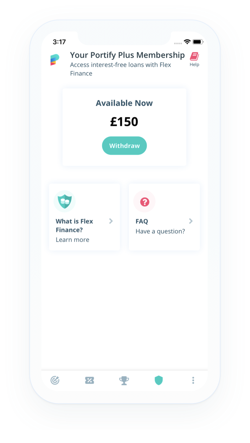 Screenshot of Flex Finance interest-free loans homepage from credit builder app Portify