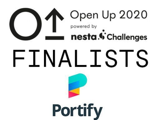 Certificate showing Portify  as a finalist of the OpenUp challenge