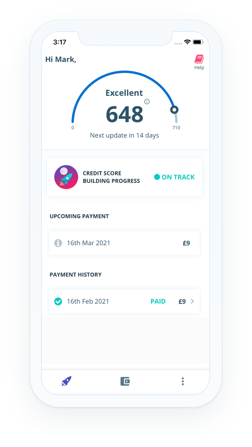 Screenshot of the homepage showing the personal finance management features of the credit building app Portify