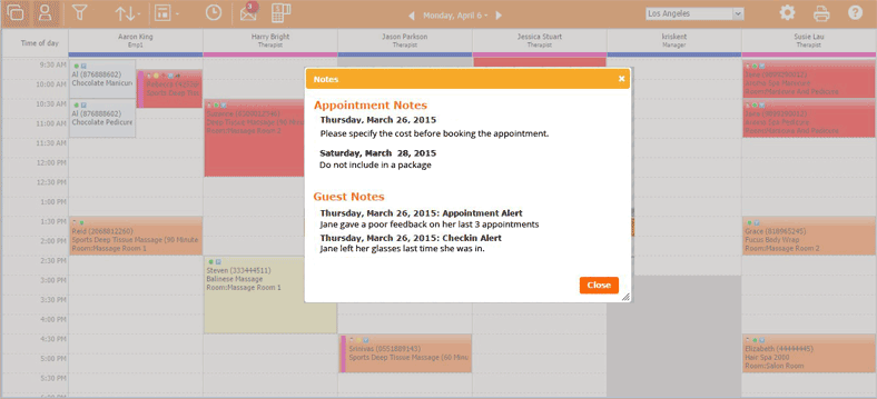 View all guest notes from past visits and appointment-related notes in a single screen.