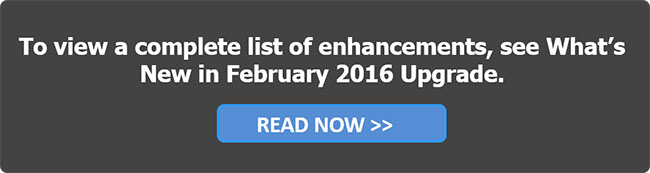 Whats New in the February 2016 Upgrade