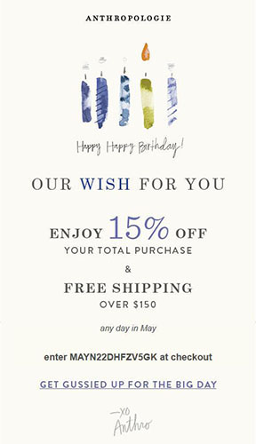 Anthropologie Perfect Birthday Promotion