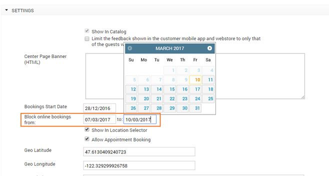 RESTRICT ACCESS TO CERTAIN DATES FOR ONLINE BOOKING