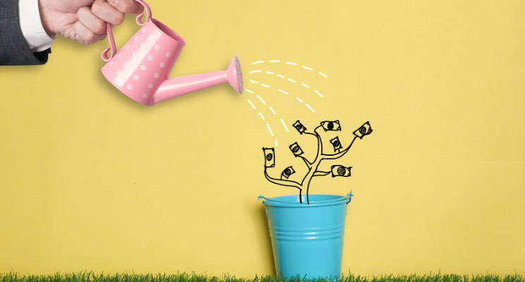 product-first; watering can pouring water on money tree