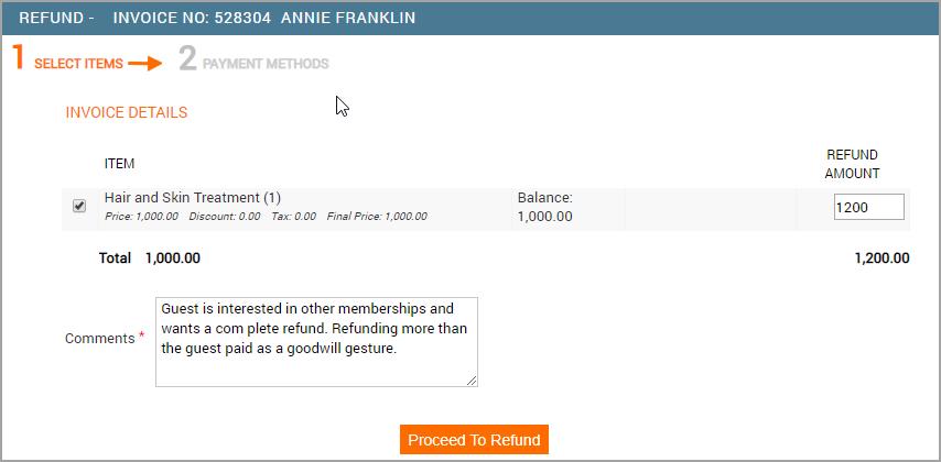 Refunf Invoice Page