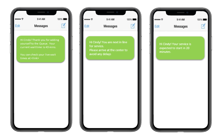 Examples of text notifications