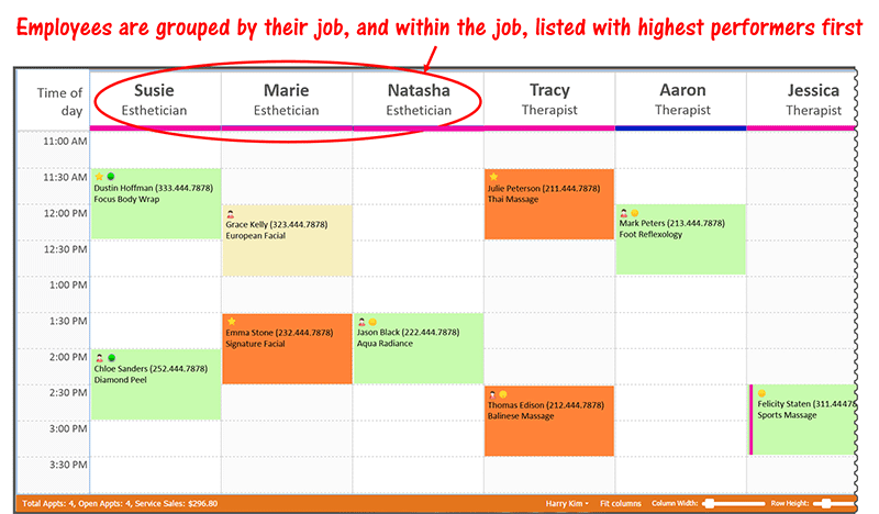 Sort employees by job & performance