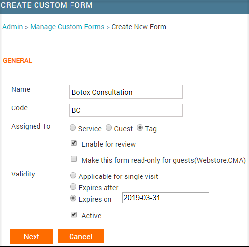 Custom form  Creation
