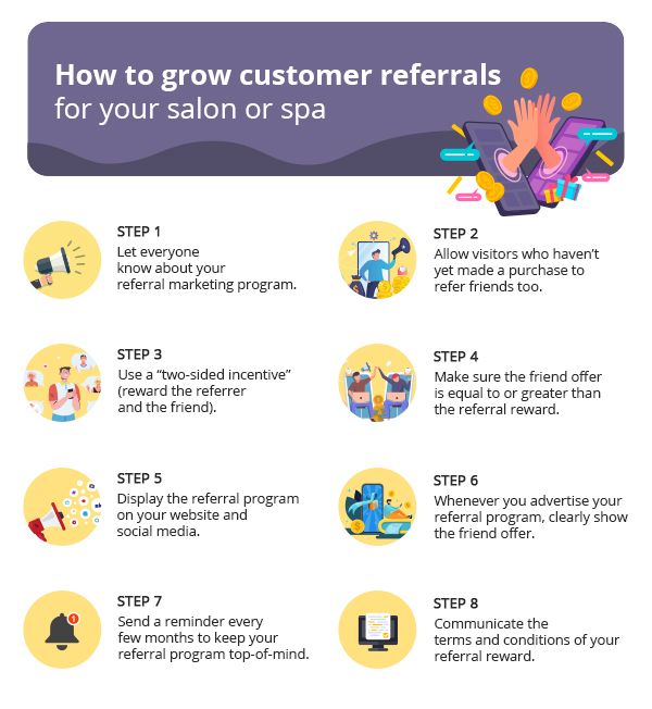 How to grow customer referrals - Steps by Zenoti (Salon and spa referral marketing)