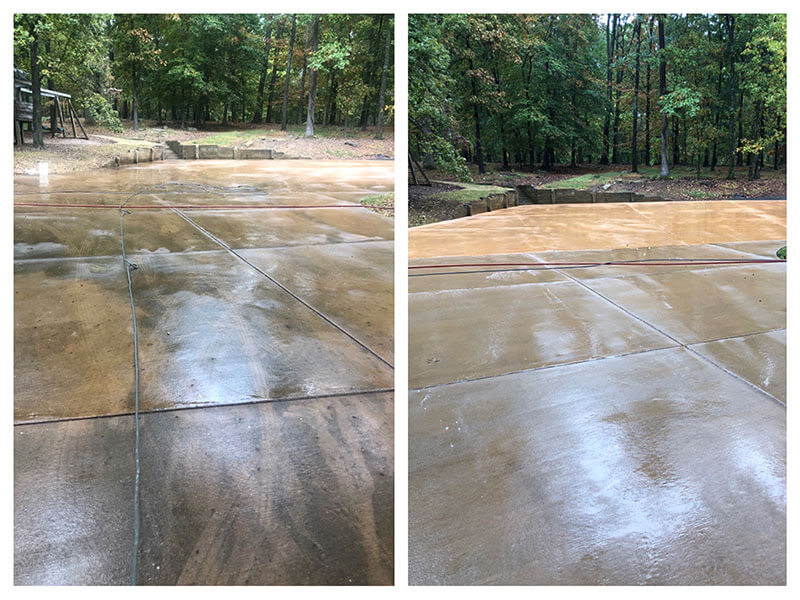 Before and after pressure washing of concrete patio
