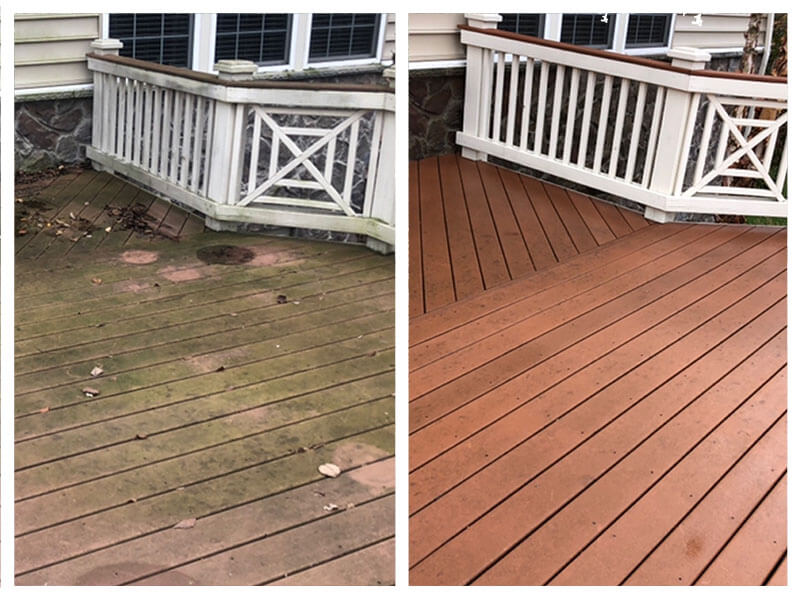 Before and after pressure washing of wood deck