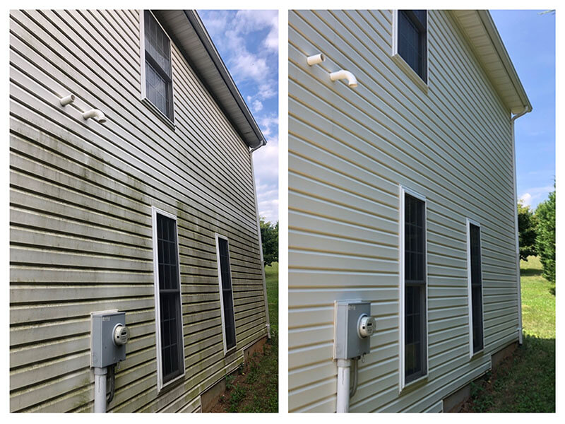 Before and after of pressure washing on home exterior with vinyl siding