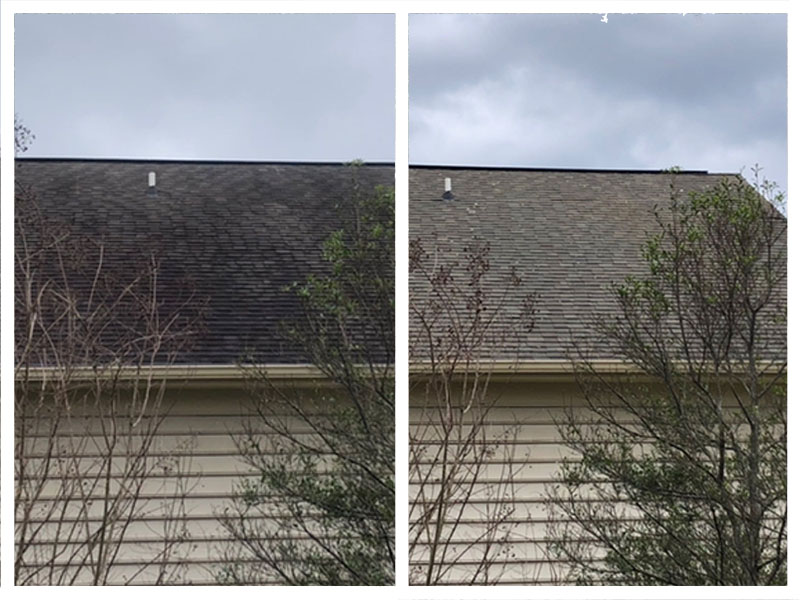 Before and after pressure washing roof