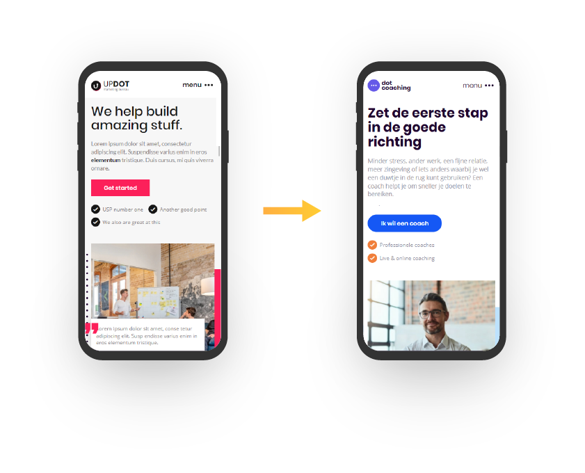Wij maken jouw website uniek, door het aanpassen van kleur en typografie. Vervolgens passen wij jouw huisstijl toe op de website.