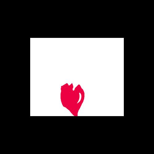 Halfblockin logo valkoisella tekstillä ja värillisellä kirsikalla