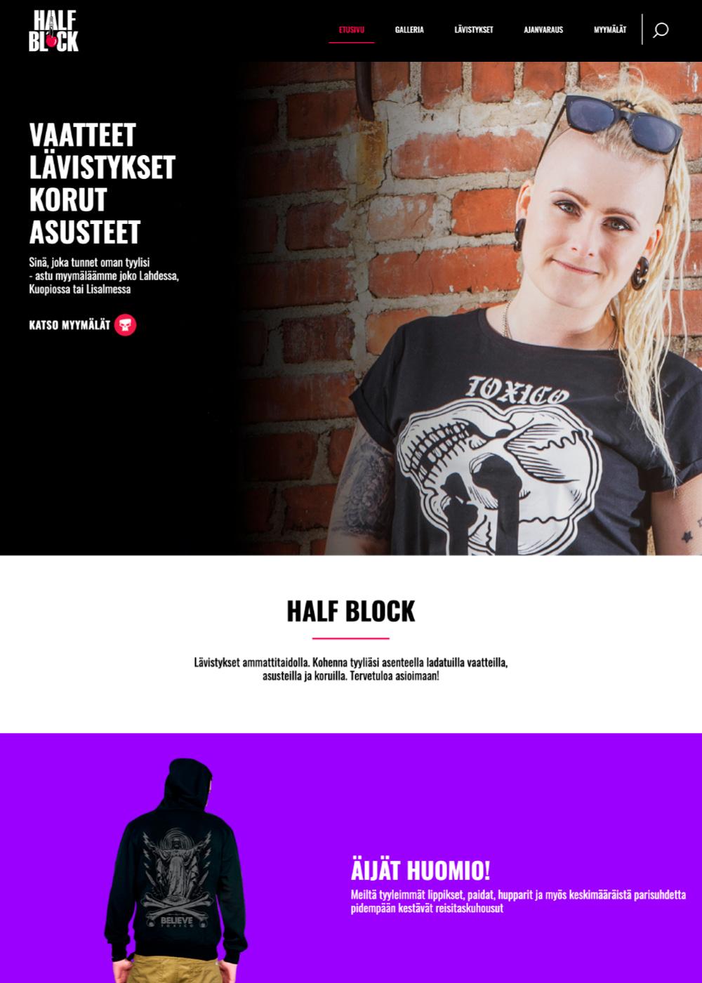 Halfblockin verkkosivuston kuvankaappaus