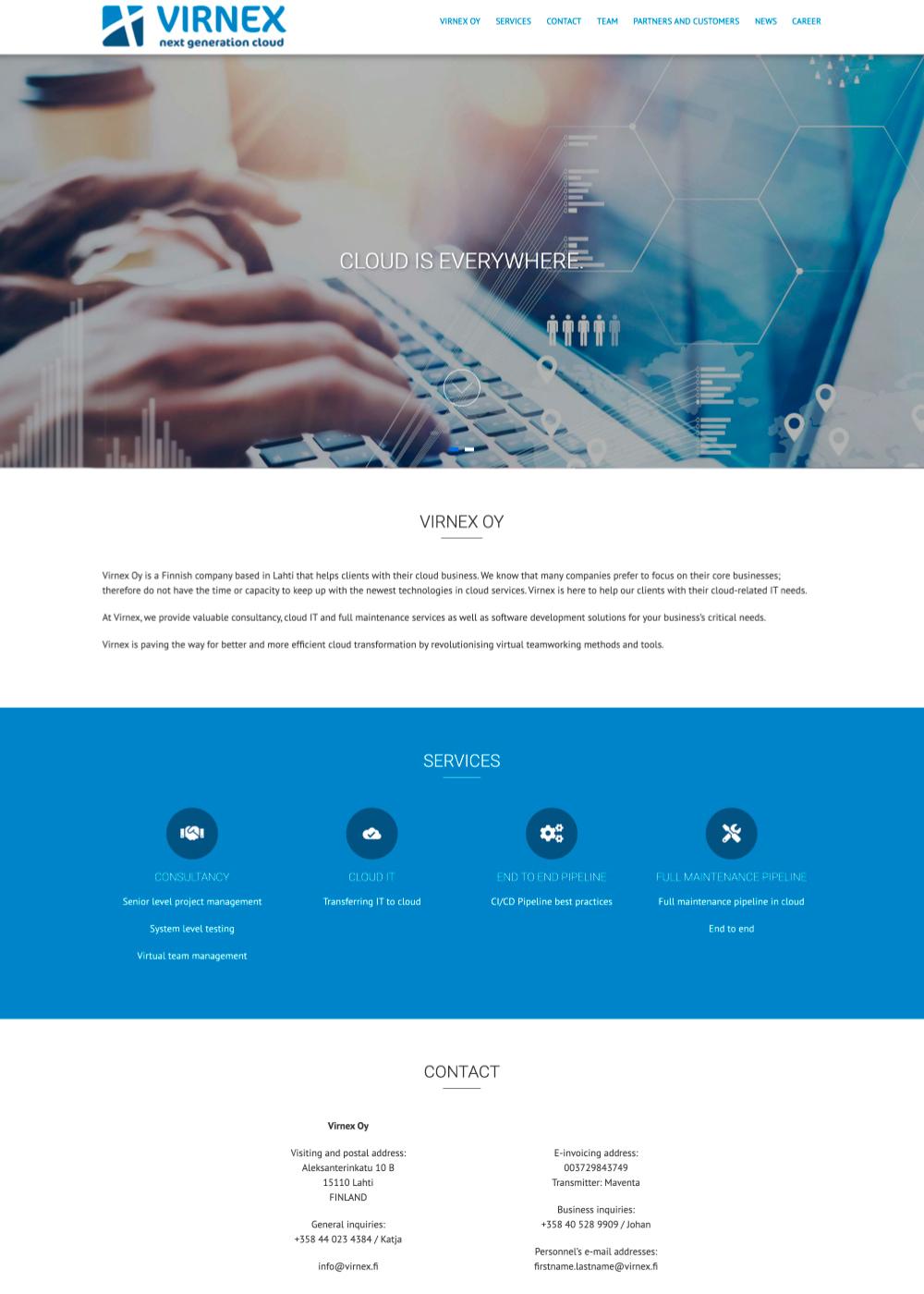 Virnex verkkosivuston kuvankaappaus