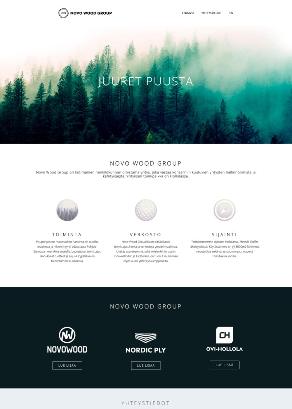 Novo Wood Group verkkosivuston kuvankaappaus