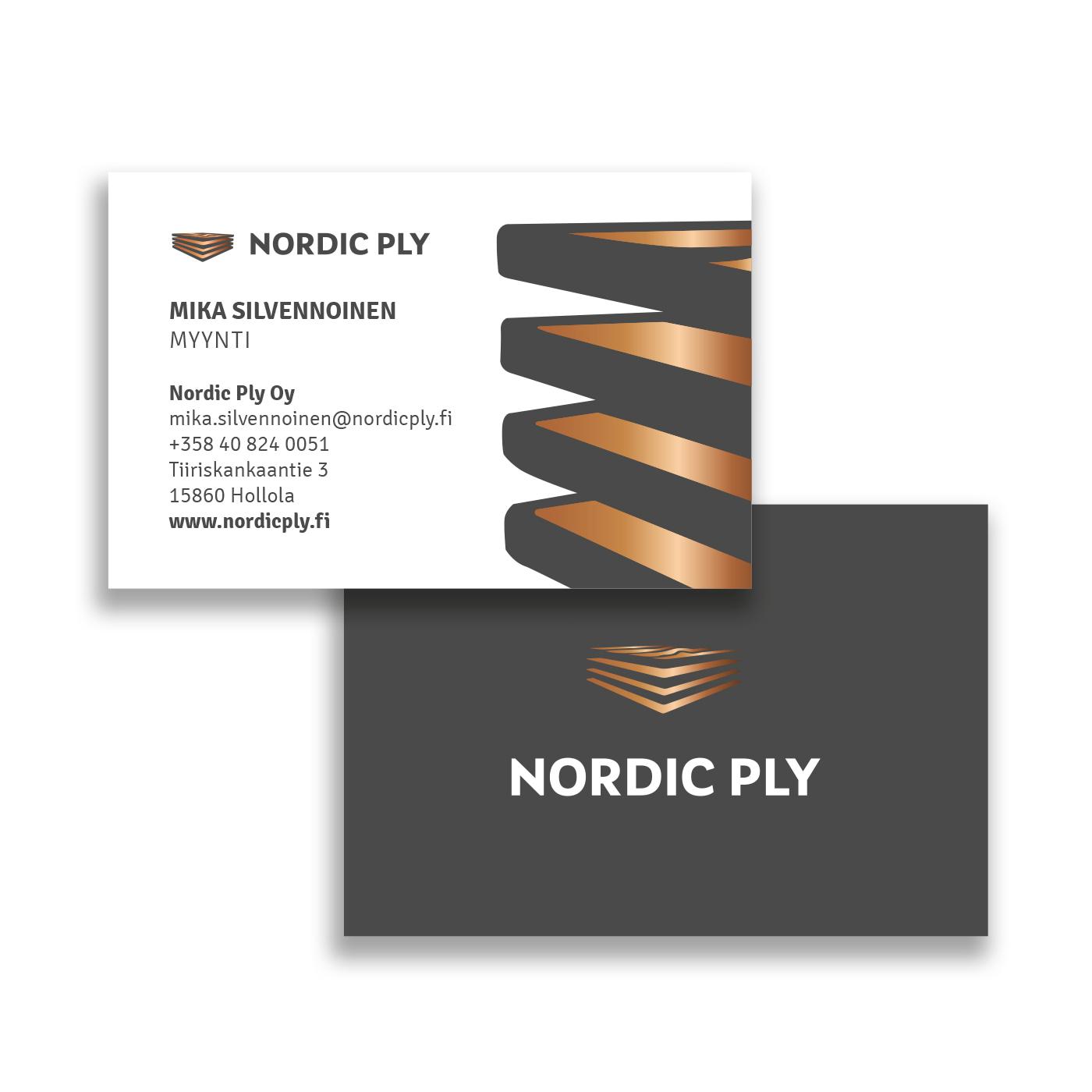 Nordic Ply toteutetut käyntikortit
