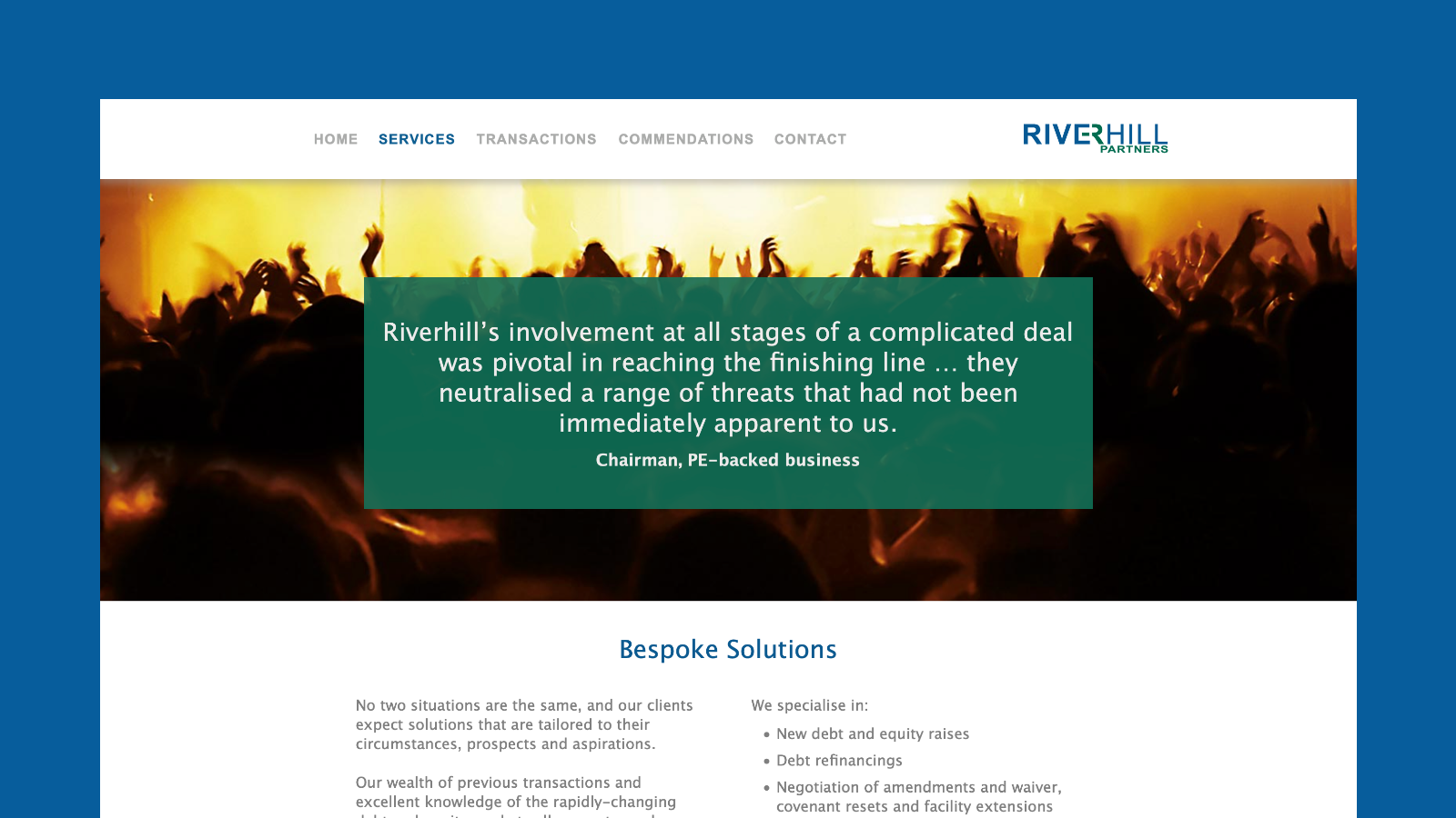 Riverhill Partners Services screen