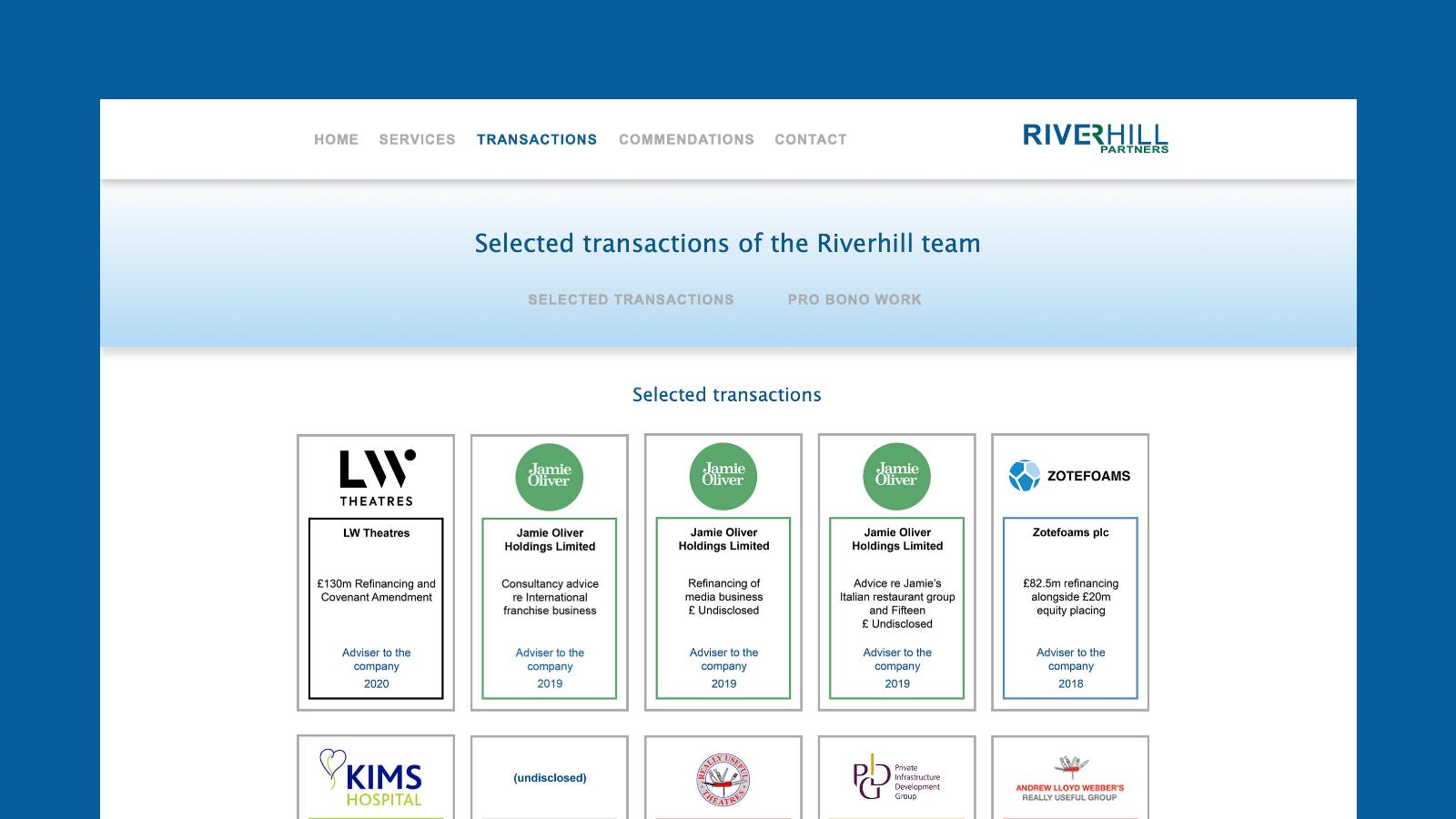 Riverhill Partners Transactions screen