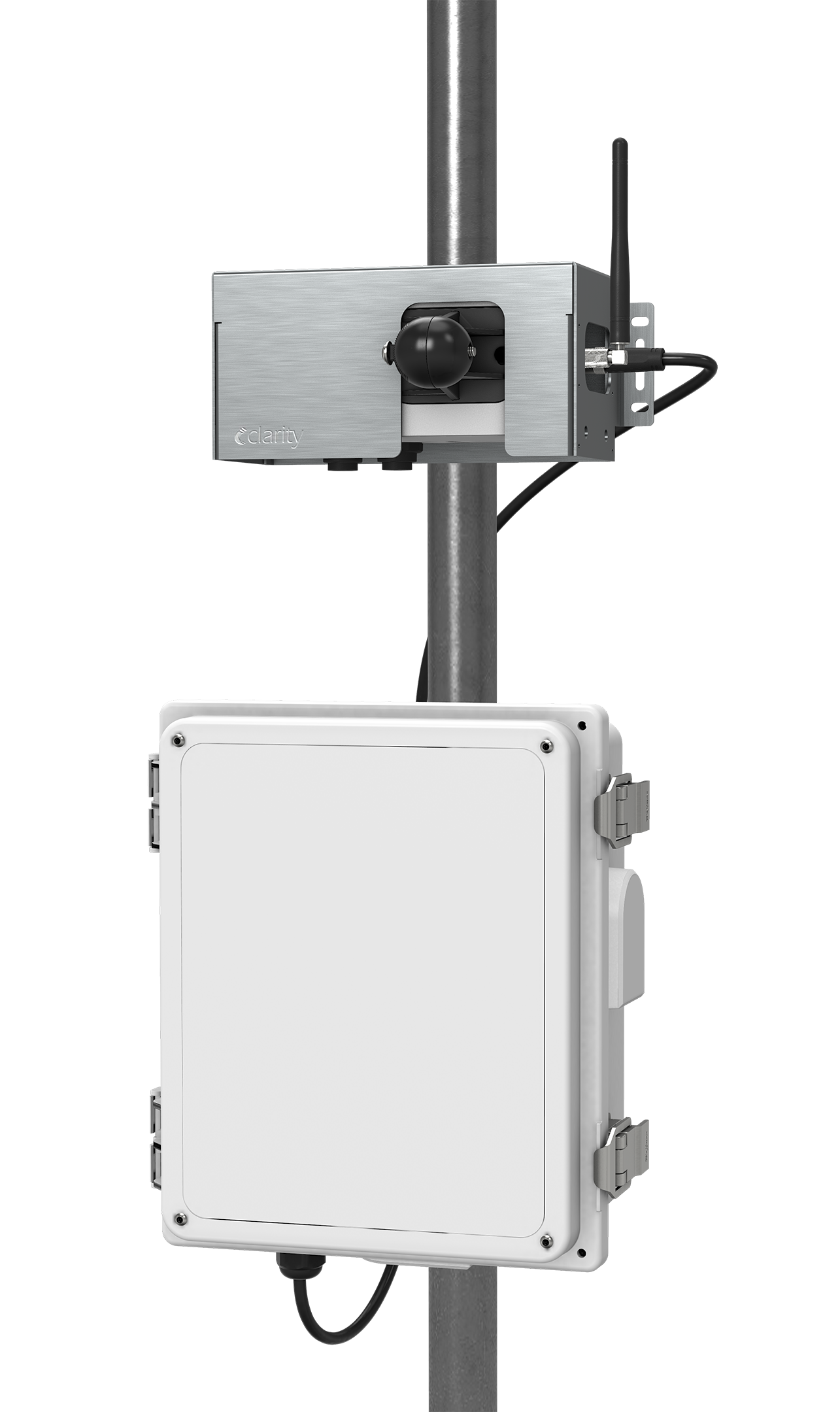 Clarity's air quality monitoring Node-S hardware sensor measures PM2.5 and NO2.