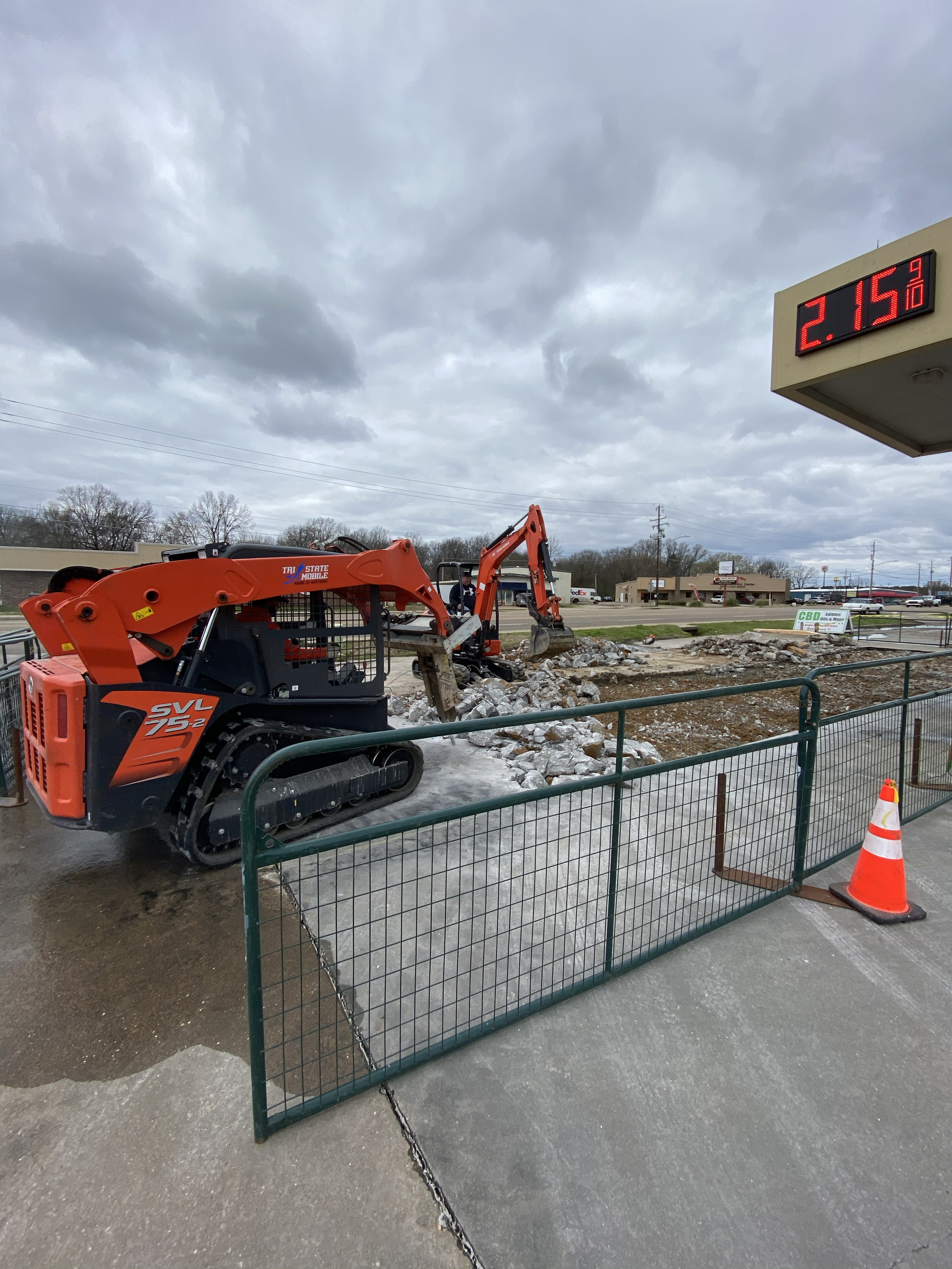 Parking lot being torn out for repair