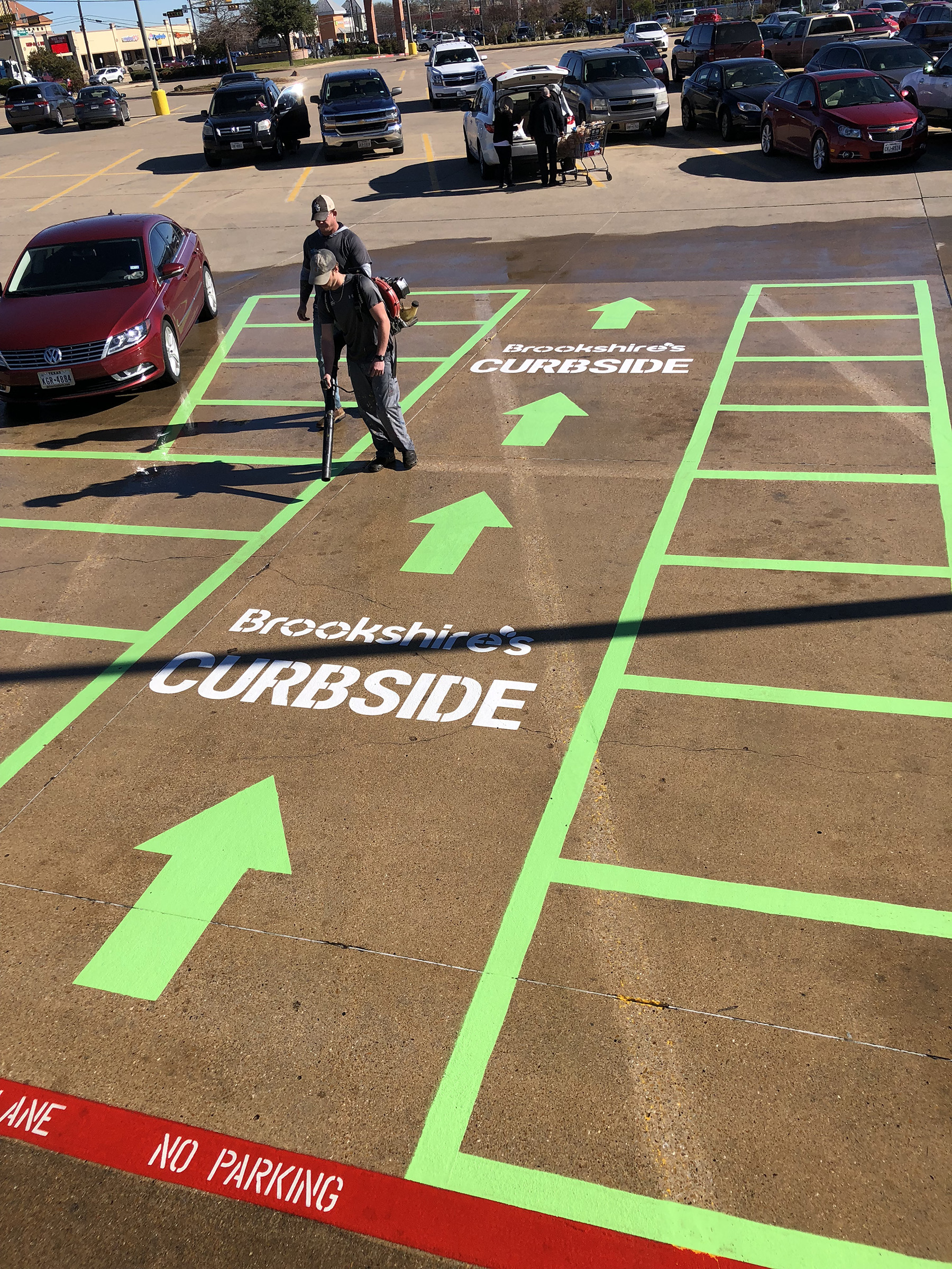 New parking lot striping
