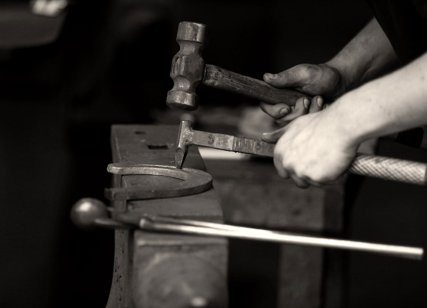 Student Farriers working at the Farriery Ireland Forge, The Curragh, Co.Kildare