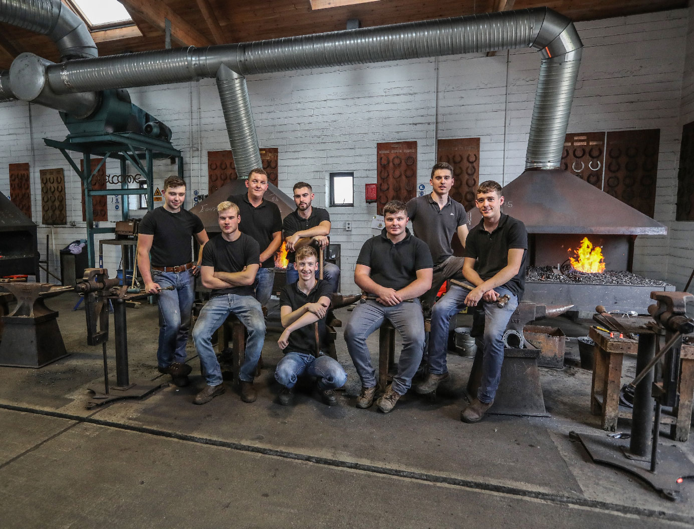 Group of student farriers training in the forge, The Curragh, Co. Kildare