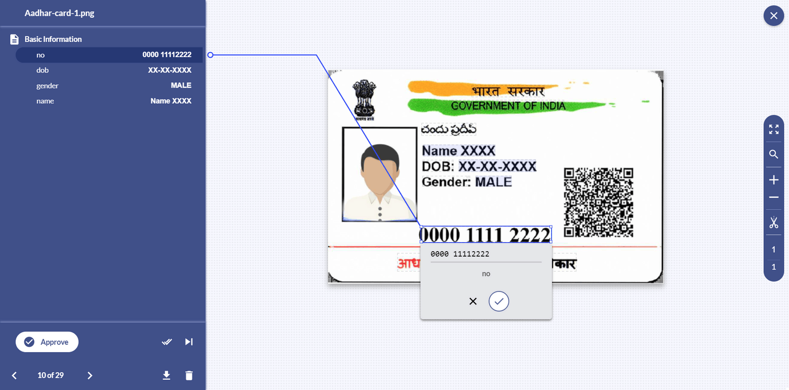 data extraction from aadhaar card
