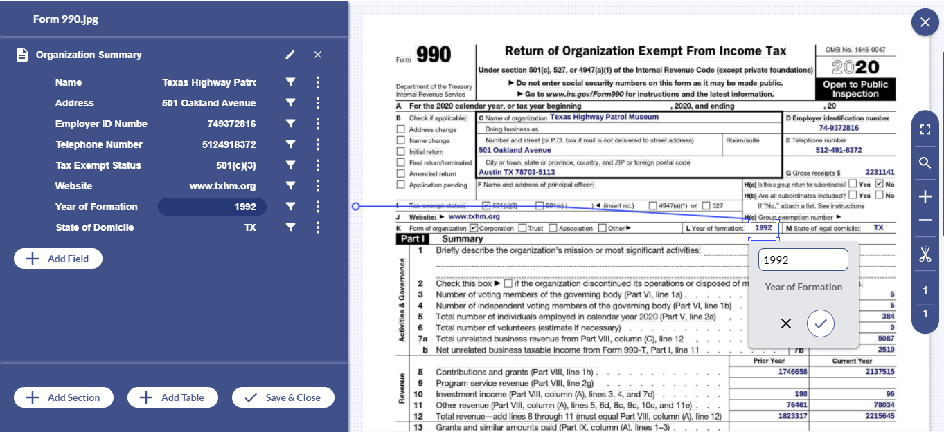 With Docsumo, free up your essential resources by automating form 990 processing with 99% accuracy.