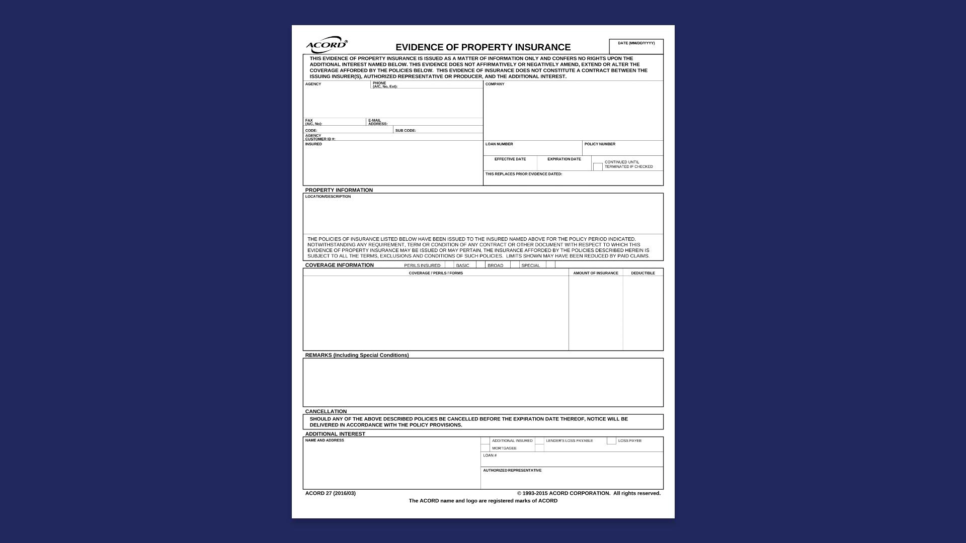 Sample Acord Form 27