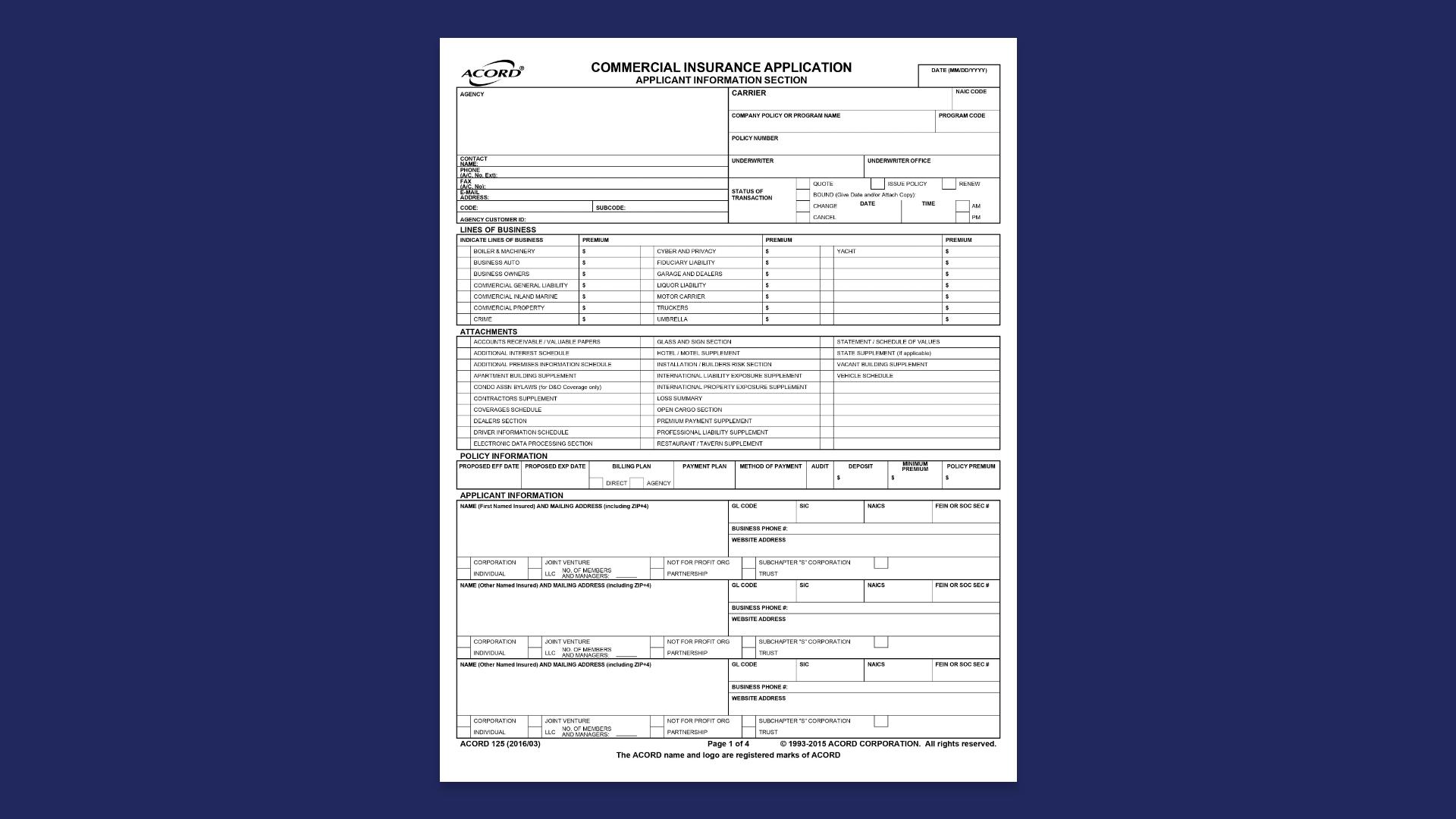 Acord 125 sample