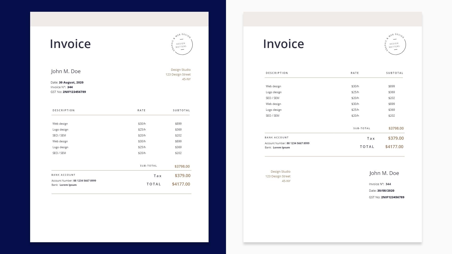 Sample invoice layout