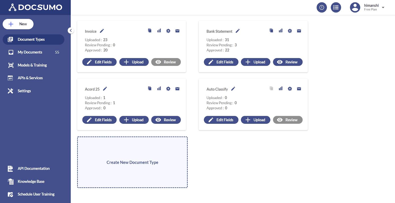 Create new document type with Docsumo