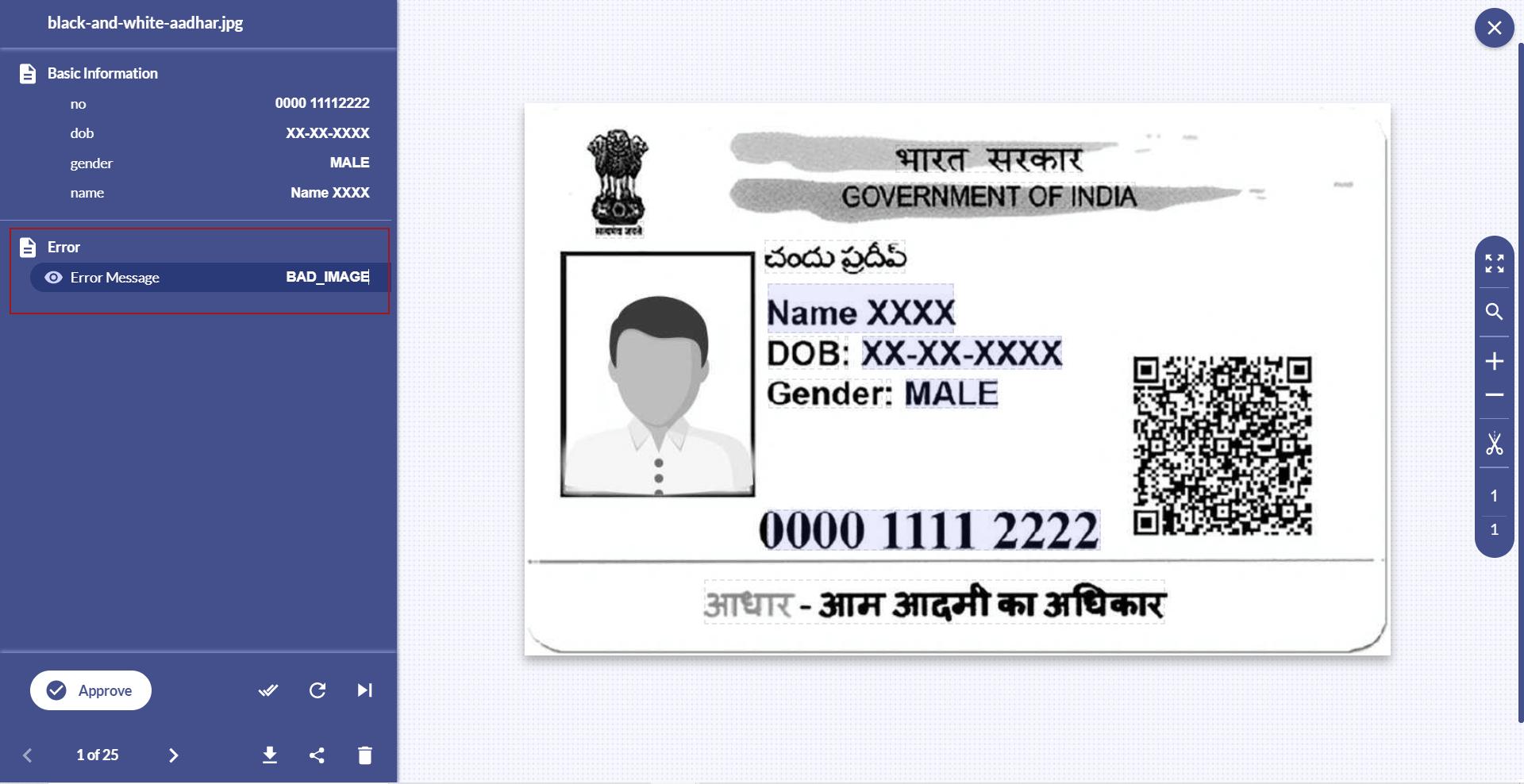 Aadhaar card black n white image error