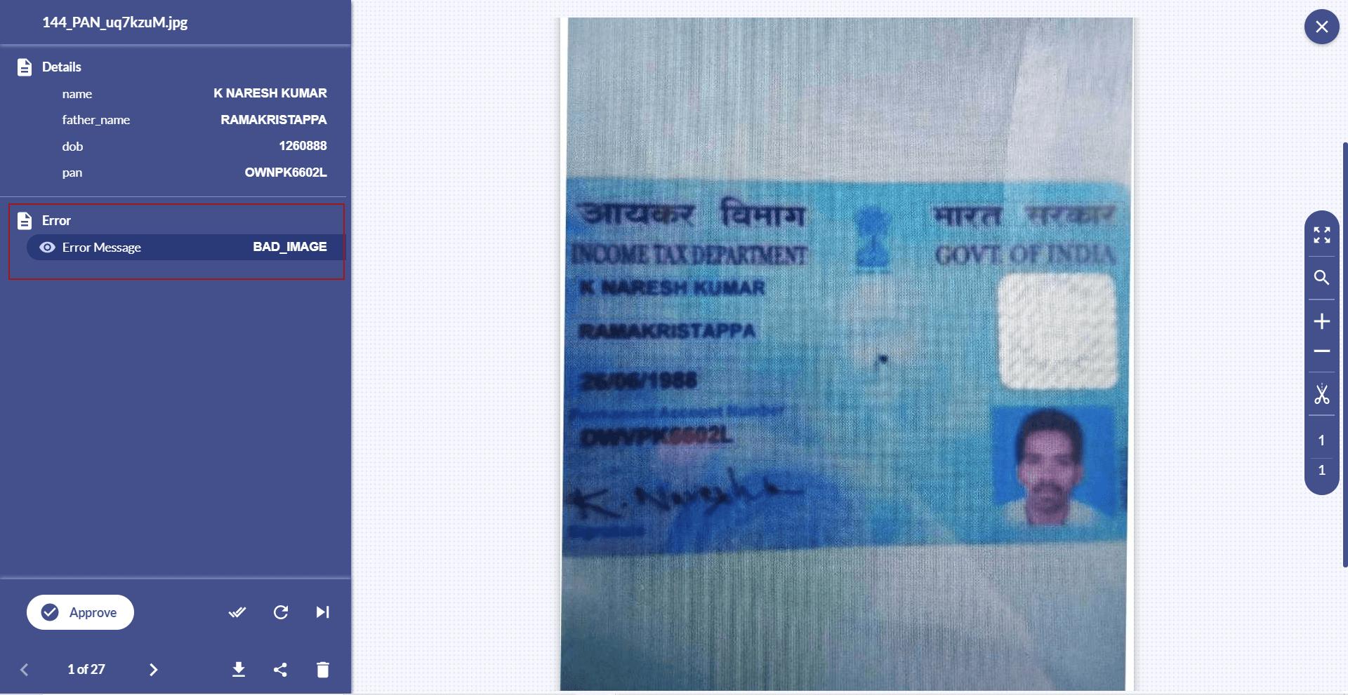 PAN card bad image error