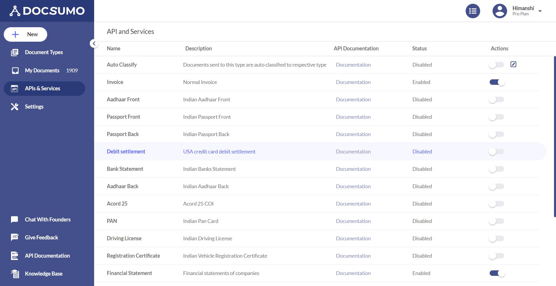 Docsumo API screenshot