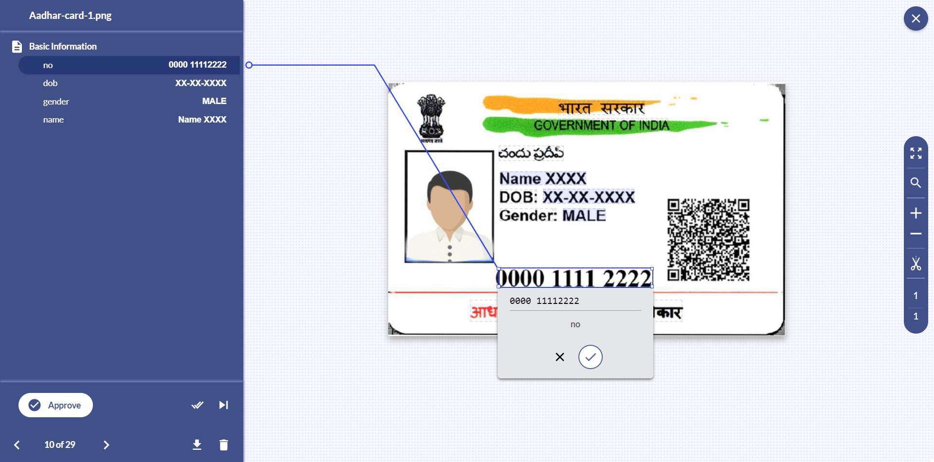 With Docsumo, free up your essential resources while verifying Aadhaar details and detecting frauds with 98% accuracy. Aadhaar card details are verified for incoherent data points and tested against Government database.