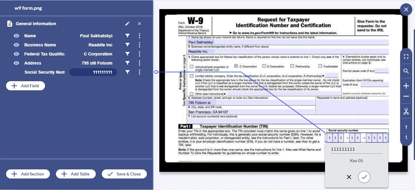 With Docsumo, free up your essential resources by automating W-9 form processing with 99% accuracy.