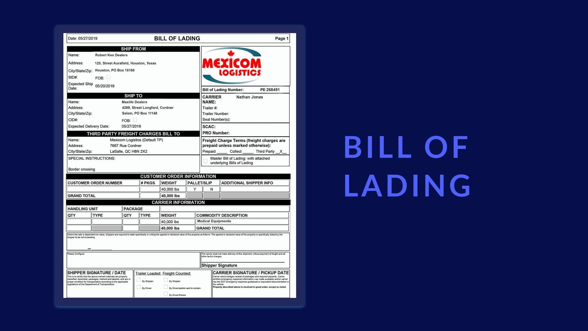 Bill of Lading sample