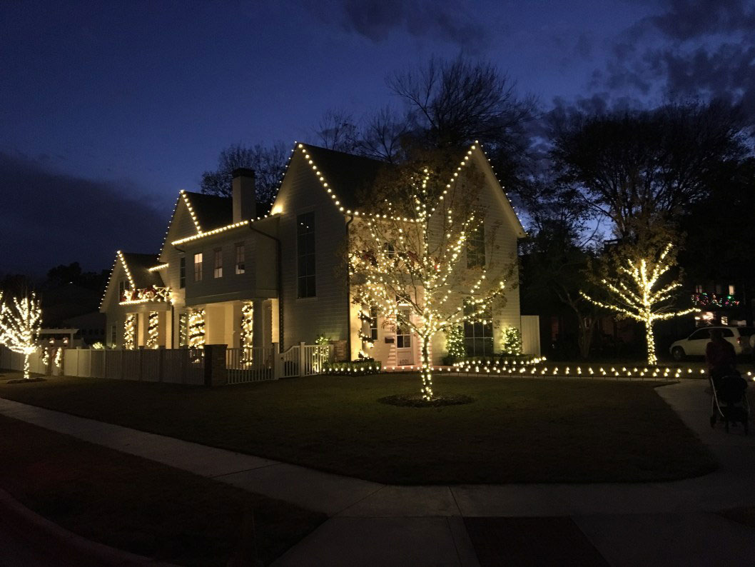 Holiday lighting installation in North Dallas by Higher Ground