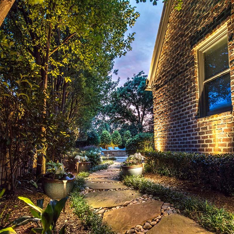 Landscape lighting project in North Dallas