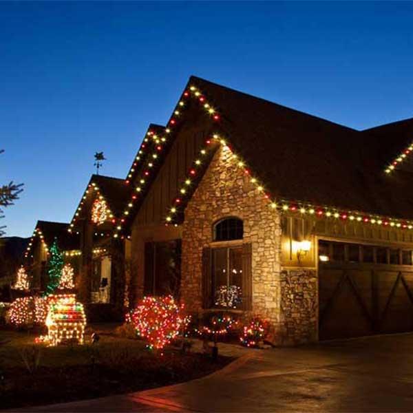 Christmas light installation in North Dallas