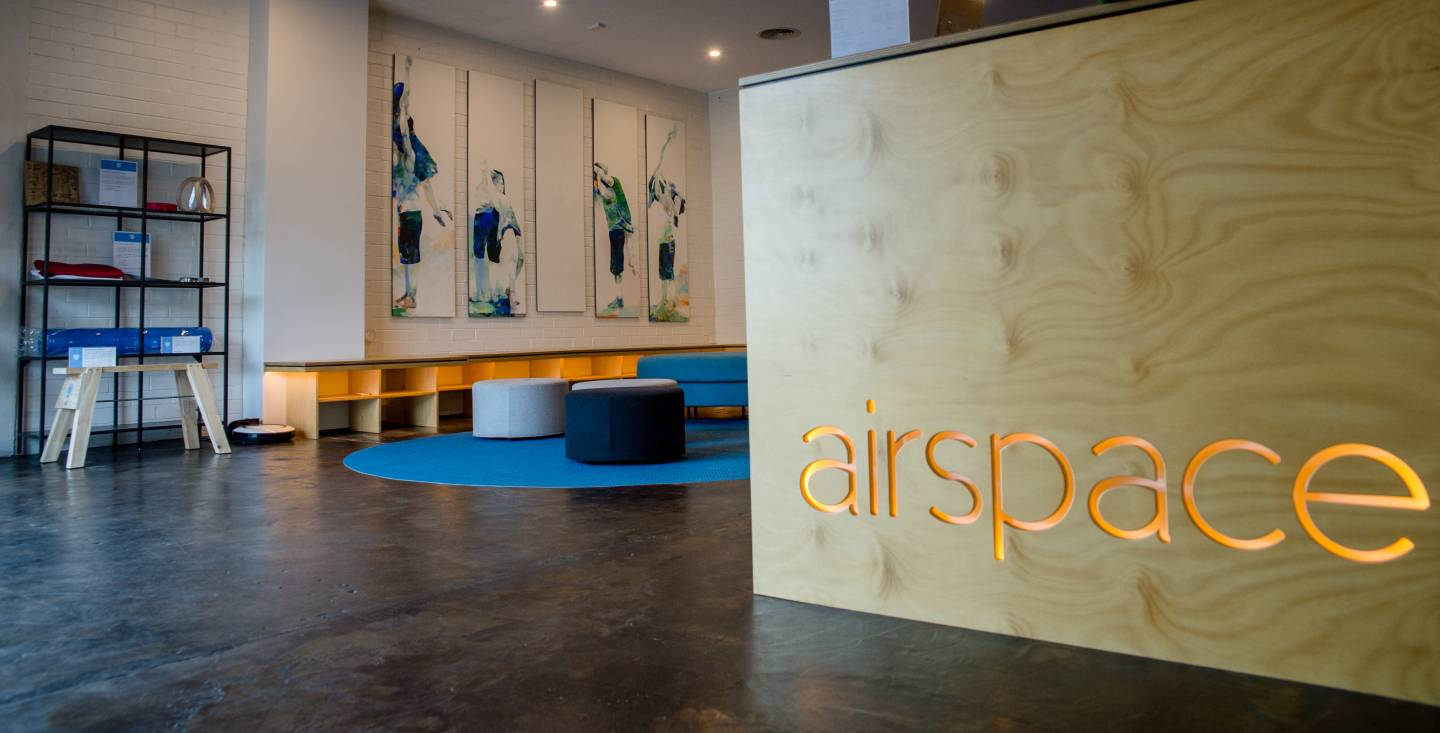The lounge and entryway at Airspace Bodyweight Aerial Fitness