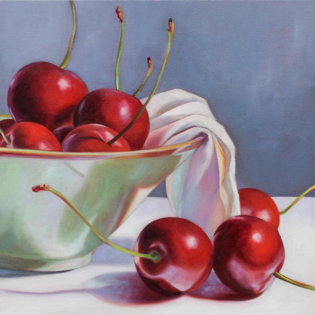 Cherries in Sage Bowl