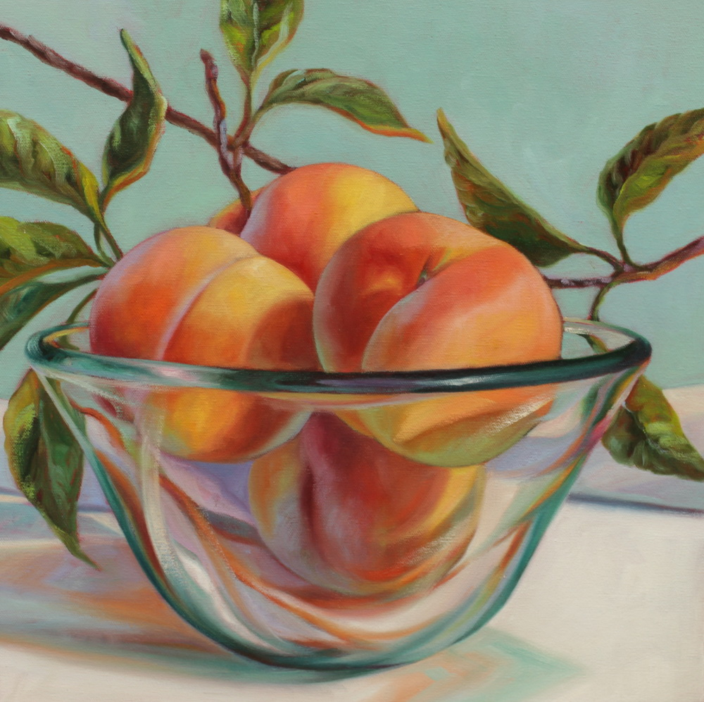 Peaches in Glass Bowl