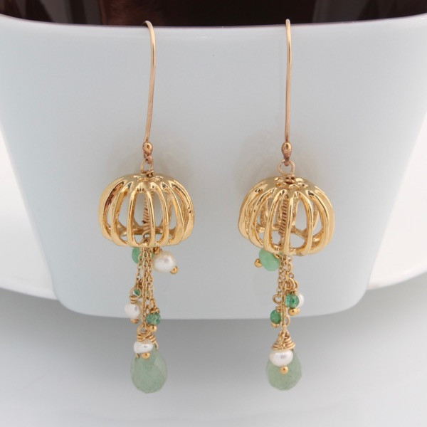 Gold Jellyfish Earrings